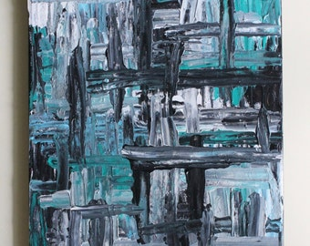Abstract Art, Abstract Painting, Palette Knife Painting, Textured Art, Black White Painting, Blue Painting, Acrylic Painting, 12x16 Canvas