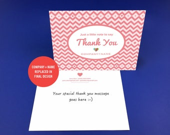 Rodan and Fields Thank You Card, Pink Chevron, Postcards, Thank You Postcard, Digital, Printable