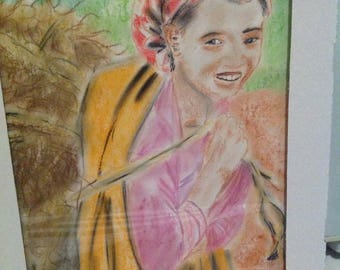 Ethnic pencil and chalk drawing