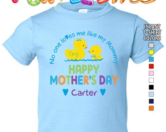 Happy Mother's Day T-Shirt - No One Loves me Like my Mommy - Boys - infant - Personalized with Name