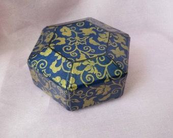 PSB-A16: Vintage Blue Paisley Jewelry Box