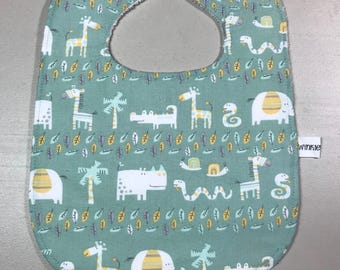 Baby Bib, Feeding Bib, Drooling Bib with Terry Cloth Backing, Adorable Animal Print, New Baby Gift, Baby Accessories, Baby Shower Gift