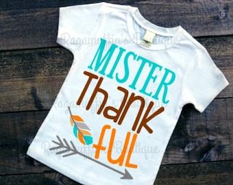 Thanksgiving shirt, Mister thankful shirt, boys thanksgiving shirt, trendy shirt, trendy boys shirt, trendy boys shirt, boys fall shirt