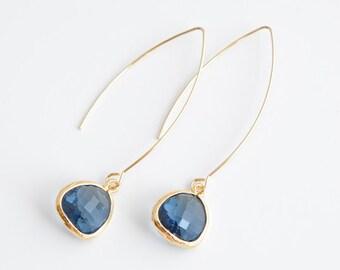 Modern sapphire blue linear earrings, Gold earrings, Wedding earrings, Bridesmaid gift, Anniversary gift, Crystal earrings