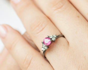Ruby Ring - Silver ruby ring - Delicate Ruby Ring - Engagement Ruby Ring - Wedding Ruby Ring - July Birthstone ring - Shiny silver ring
