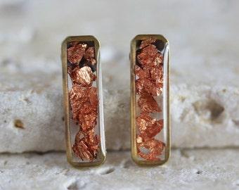 Copper Foil Brass Vertical Bar Stud Earrings - Titanium Hypoallergenic Posts