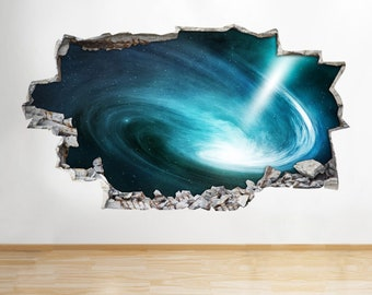 H445 Space Nebula Stars Galaxy Smashed Wall Decal 3D Art Stickers Vinyl Room[Medium (52x30)]