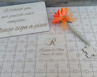 150 piece CUSTOM Wedding Guest Book Puzzle with Heart tabs 150 Pieces Personalized Guestbook Alternative
