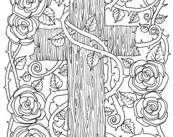 5 Digital Pages Of Crosses To Color Instant Download Digi Stamps Coloring Book Christian Church Bible Adult