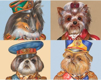 Military Dog Society - 4 Art Prints - Sheltie, Yorkie, Shih Tzu & Brussels Griffon - Dogs in Clothes - Pet Portraits by Maria Pishvanova