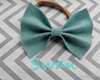 Swan Blue Felt Bow