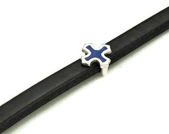 Blue Enamel Licorice Leather Clasp - Antique Silver - Sterling Silver Plated - Qty. 1