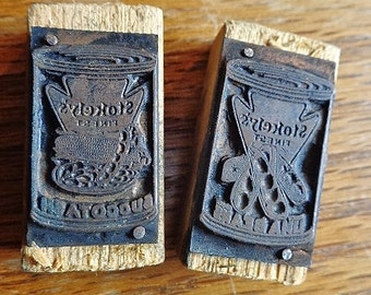 Vintage Stokely's Finest Letterpress Advertising Print Blocks, Succotach and Lima Beans