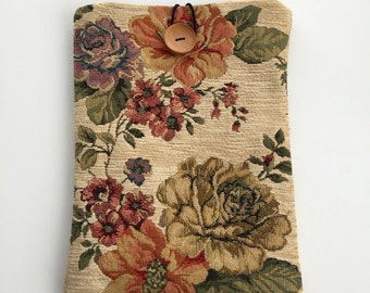 Tapestry Ipad Case,Book Case,Tapestry bag, Goblen Bag, Gobelin Bag,Tapestry Fabric, Ipad Cover, Ipad air case, fabric flowers, Floral fabric