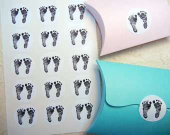 "Baby Footprints Sticker Baby Shower - 1"" One Inch Round Sticker Envelope Seals - B&W, Sheets of 15 - by Blossom Arts"