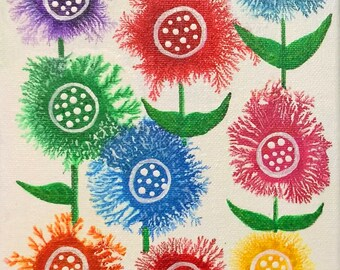 "Fractal Blossoms II Original Acrylic Painting - 14"" x 7"" x .75"""