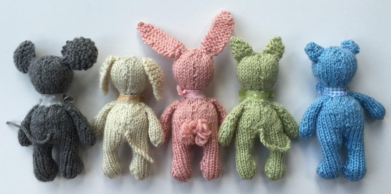 Small Animal Stuffed Toys KNiTTING PaTTERN Mini Stuffie Teddy Bear ...