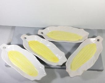 Hoffritz Japan set of 4 corn cob holders trays ceramic.