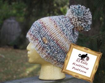 Knit Pattern Chunky Hat Removable Pom Pom // The HUDSON // Knitting // One Size