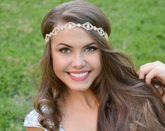 Gold Rhinestone Bridal Headband, Rhinestone Connector, Crystal Headband, Bridal Headpiece, Wedding Hairpiece, Forehead Headband, Adult Bling