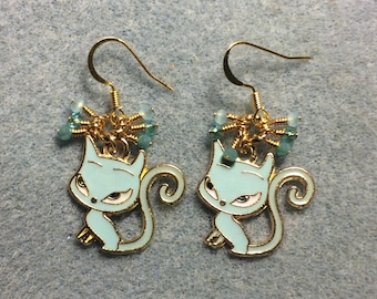 Aqua enamel devil cat charm earrings adorned with tiny dangling aqua and turquoise Chinese crystal beads.
