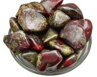 1 XL DRAGON Blood Stone Jasper Tumbled Crystal Green and Red for Courage Jewelry & Crafts Healing Crystal and Stone #DB01