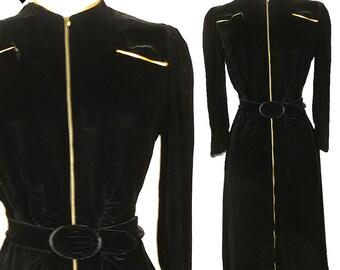 Vintage 30s Dress / Vintage 40s Dress / Black Velvet Dress / 30s 40s Swing Dress / XS S Extra Small Puff Sleeve WWII Film Noir Silk Pinup