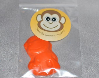 Monkey Party Favors,  Zoo Party Favors, Recycled Crayons And Stickers /20 Monkey Stickers and 20 Monkey Crayons