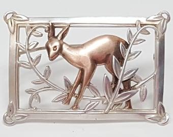 Vintage Sterling Silver 925 Deer Brooch