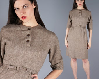 Belted Wool Shift Dress Belted Mod 60s Brown Heather Dress 3/4 Length Sleeve Dress