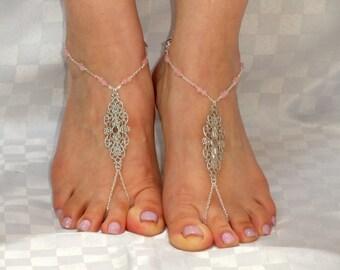 Silver rose quartz barefoot sandals, Rose quartz barefoot sandals, Bridal barefoot sandals, Barefoot sandals UK,  Bare foot sandals