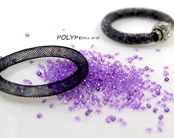 Kit (8mm) mesh tube Bracelet black and purple rhinestones