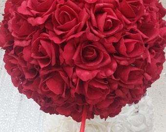 Wedding Kissing Ball, White Kissing Ball, Rose Hanging Kissing Ball, Rose Kissing Ball, Wedding Pomander Ball, Flower Girl Kissing Ball, 5pc