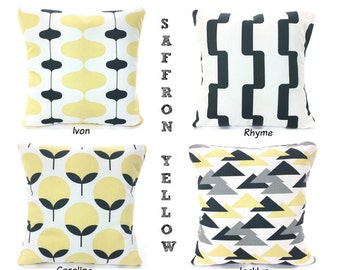 SALE Yellow Gray Pillow Covers Decorative Throw Pillows Cushions Saffron Yellow Charcoal Gray Couch Bed  More Mix & Match
