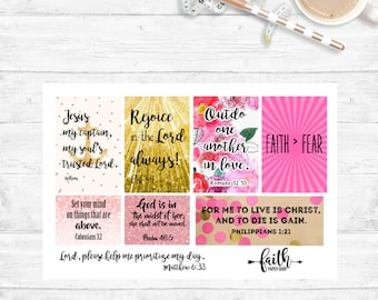 Christian Planner Stickers Scripture Stickers, Illustrated Faith, Happy Planner, ECLP, MAMBI, Bible Journaling, Bible Verse