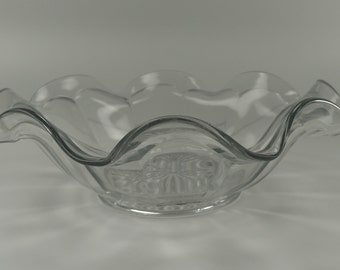 Vintage Crystal Bowl with Ruffled Edge