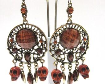 Day Of The Dead Earrings Sugar Skull Chandelier Caramel Brown