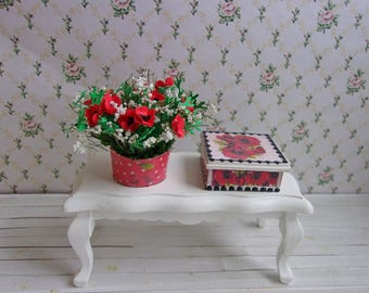 Bouquet of poppies in pots + casket (set). Miniature Dollhouse. 1:12 Scale