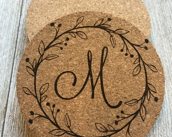 Personalized Coasters, Set of 4, Monogram Coasters,  Cork Coasters,  Custom Coasters, Kitchen Accessories, coasters, set of 4, engraved