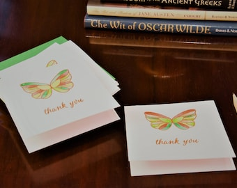Handmade Notecards - set of 5 - orange butterfly