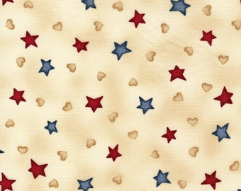 Peace in the Country Stars Blue & Red on Tan 1 Yard Fabric