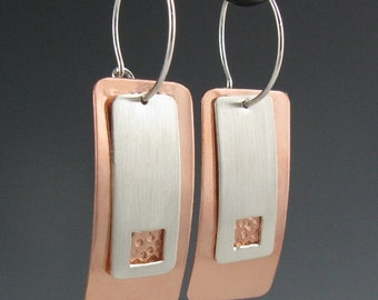 Copper and Silver Rectangular Interchangeable Earrings, Handmade