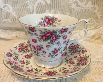 Tea Cup & Saucer Chelsea Royal Albert Nell Gwynne Series Roses Pink Bouquets Vintage Collectable