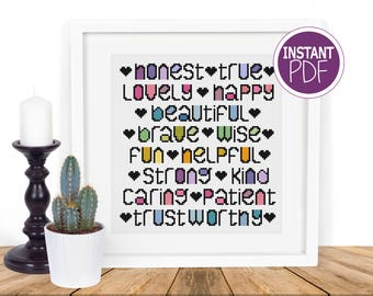 Friendship Cross Stitch Pattern - Gift for friends -  counted cross stitch Chart by Peppermint Purple