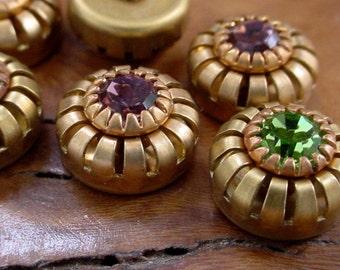 6pc Vintage 10mm Swarovski Crystal Cabochons Flat Back Peridot Light Amethyst Rhinestone Round Bare Raw Brass Crown Bezel 29ss 6mm Stones 4O