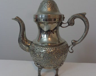 Vintage Ornate German Silver Teapot, German Silver Teapot, Ornate Silver Tone Tea Pot Ornate, Fancy Footed German Silver Detailed Teapot