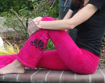 """Pink Yoga Pants 32"""" inseam Hand Dyed from The ArtiZan Collection with Optional Hand Painted Design Including Plus Sizes"""