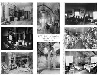 INTERIORS vintage rooms digital collage sheet, photos backgrounds gothic steampunk, antique empty spooky, ATC altered art ephemera DOWNLOAD