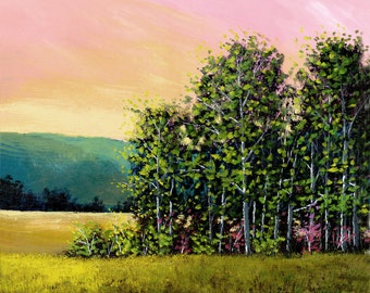 landscape painting PRINT Acrylic landscape forest trees and mountains in the summer GICLEE 13x13
