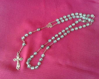Rosary, silver and glass beads
